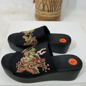 NEW BEBE Black Oriental Embroidered Wedges Sandals
